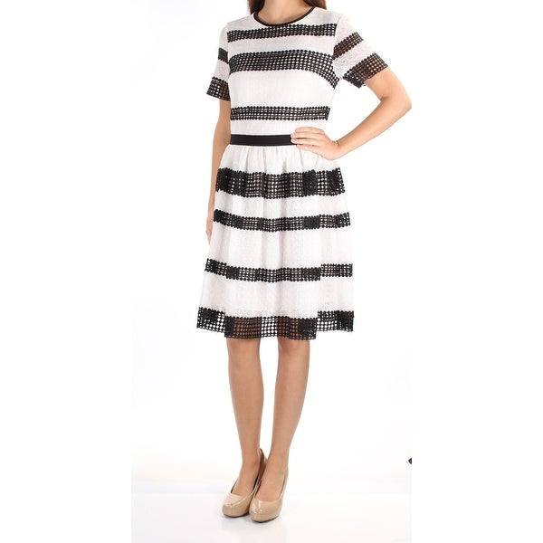 0231fbe6a39 Shop MICHAEL KORS $295 Womens New 1533 Black White Striped Eyelet Lace  Dress 2 B+B - Free Shipping Today - Overstock - 21305842