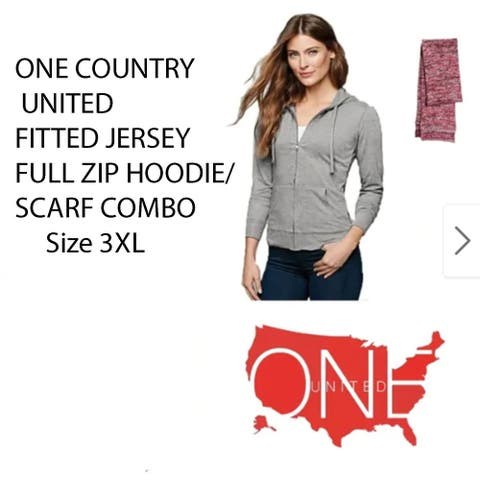 One Country United Women's (Size 3XL) Full- Zip Hoodie/Scarf Combo