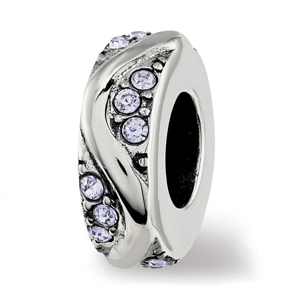 Sterling Silver Reflections Swarovski Elements Crystal Wave Spacer Bead (4.5mm Diameter Hole)
