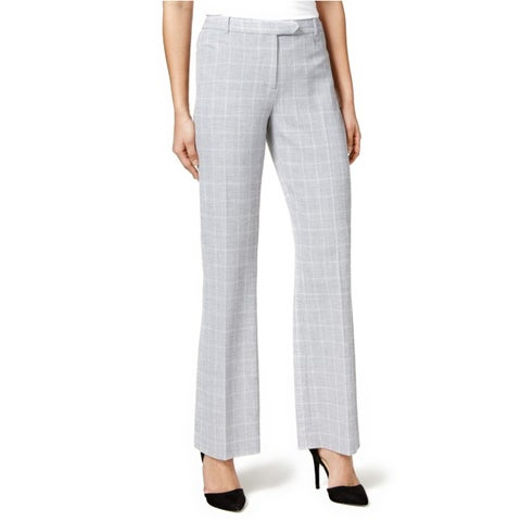 Tommy Hilfiger Plaid Princeton Bootleg Trousers Pants Silver/Ivory - 16