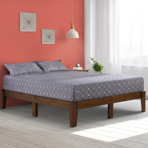 Sleeplanner Full 14-inch Natural Smart Wood Bed Frame