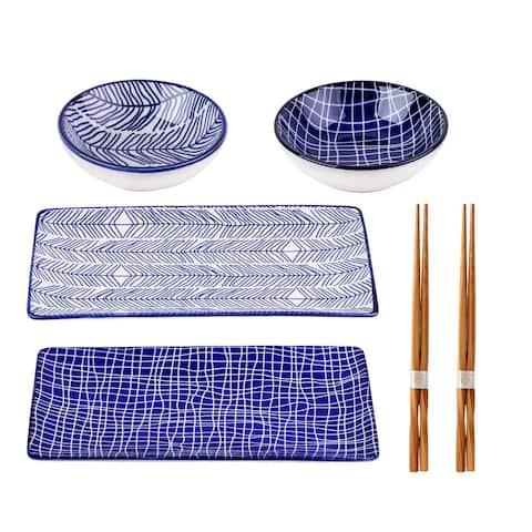 6 Piece Porcelain Rectangle Plates Dipping Saucers and Chopsticks