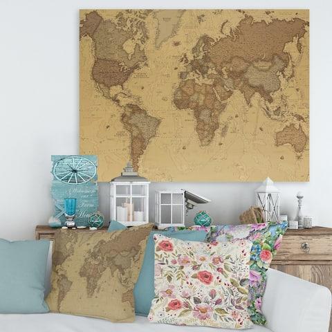 Designart 'Ancient Map of The World III' Vintage Canvas Wall Art Print