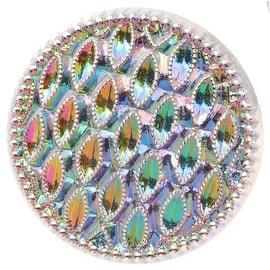 Czech Glass, Round Textured Button 22.5mm, 1 Piece, Iridescent