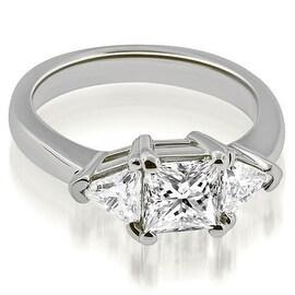 1.50 cttw. 14K White Gold Princess Trillion Three-Stone Diamond Engagement Ring