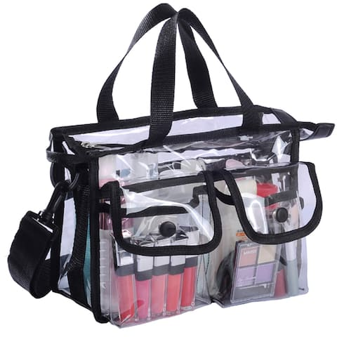 KIOTA Mini Makeup Artist Storage Bag, Clear Cosmetic Bag, Front Pockets and Shoulder Strap, ON THE GO Series