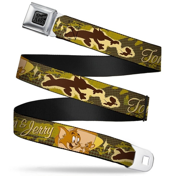 Tom And Jerry Black Silver Tom & Jerry Tom Chasing Jerry Houndstooth Browns Seatbelt Belt