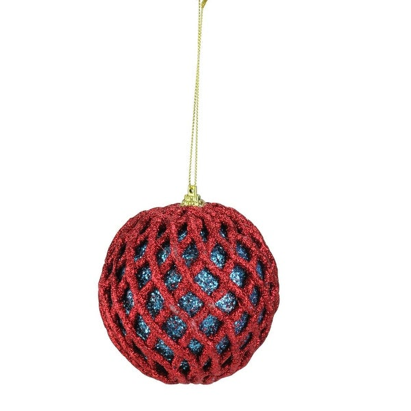 "4"" Blue and Red Retro Christmas Glitter Mesh Pattern Ball Ornament"