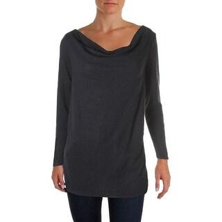 Three Dots Womens Sweatshirt Striped Cowl Neck