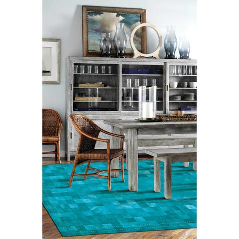 Nourison Barclay Vivid Textured Over-dyed Hair on Hide Modern Patchwork Area Rug