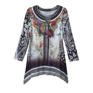 Women's Tunic Top - Kaleidoscope Sublimated Sharkbite Hem Shirt