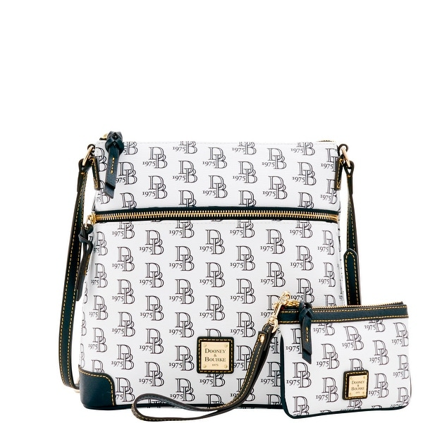 Dooney & Bourke 1975 DB Signature Crossbody & Med Wristlet (Introduced by Dooney & Bourke at $248 in Feb 2017) - White Black