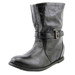 All Black Belts & Tweed Women Round Toe Leather Black Mid Calf Boot
