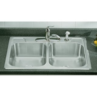 Sterling 14708-5 Double Basin Stainless Steel Kitchen Sink with SilentShield