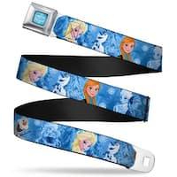 Frozen Logo Full Color Blues Frozen Character Poses Blues Webbing Seatbelt Seatbelt Belt