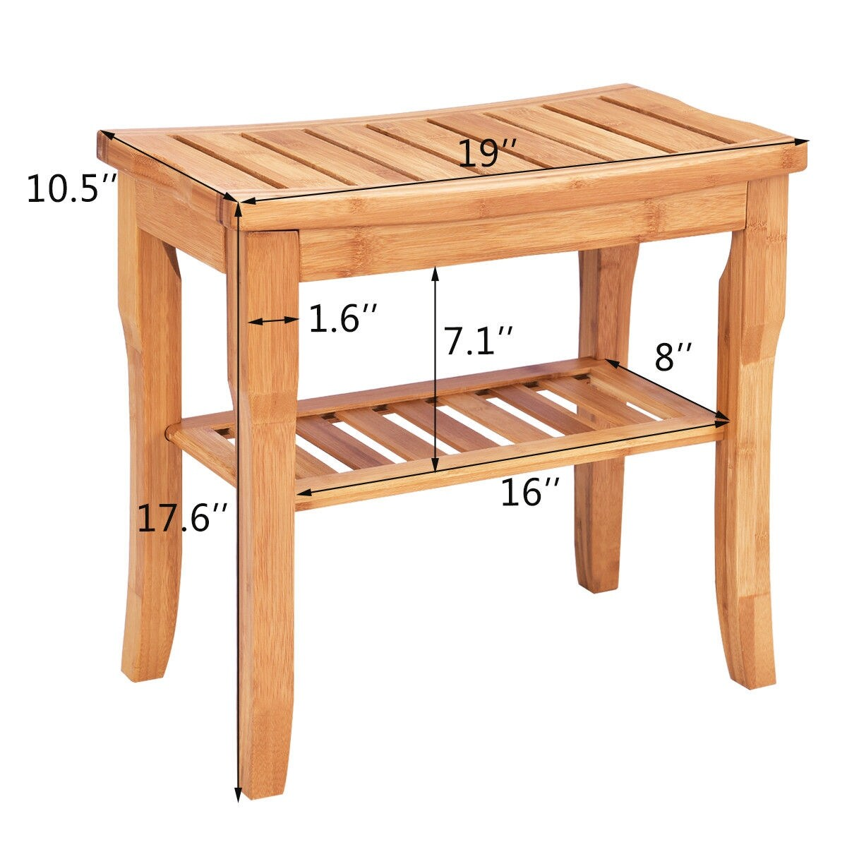 Costway Bamboo Shower Seat Bench