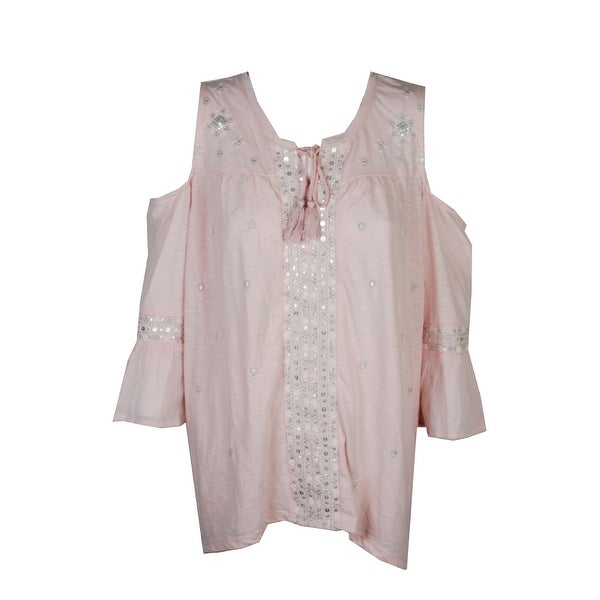 26abcaa128a Style  amp  Co Plus Size Pink Embroidered Embellished Peasant Blouse 2X