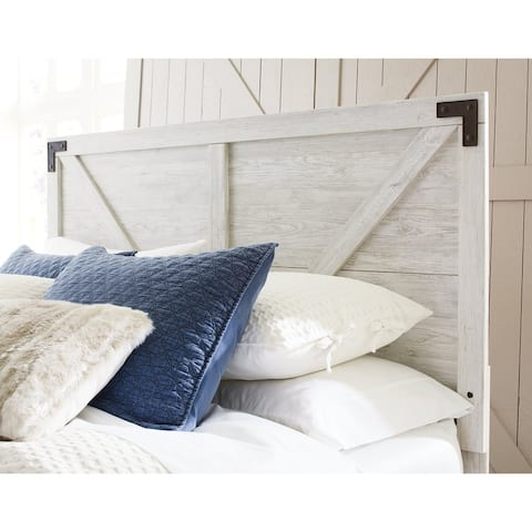 Shawburn White/Dark Charcoal Gray Panel Headboard