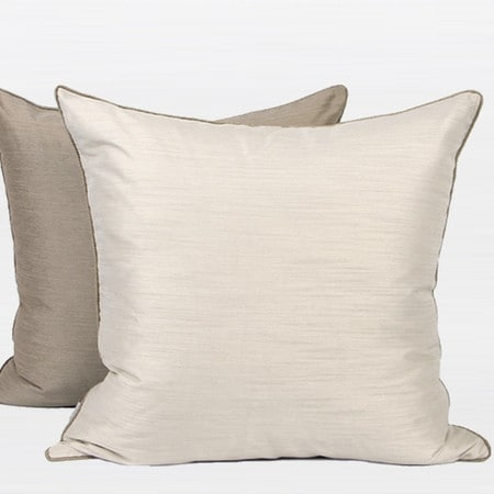 "G Home Collection Luxury White And Taupe Two Color Faux Silk Pillow 20""X20"""