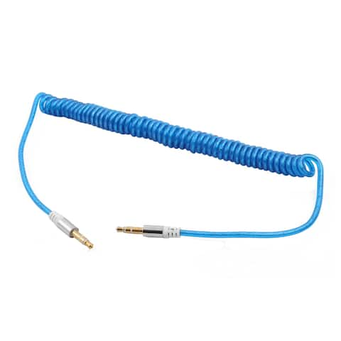 Phone 3.5mm Male to Male Plug Universal Stereo Spring Aux Coil Audio Cable Blue