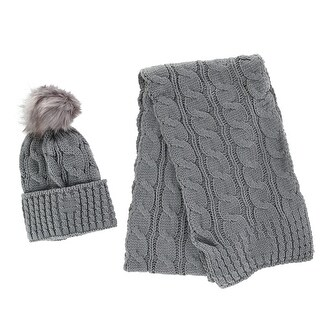 CTM® Women's Cable Knit Cuff Cap with Pom and Matching Scarf Set - One size