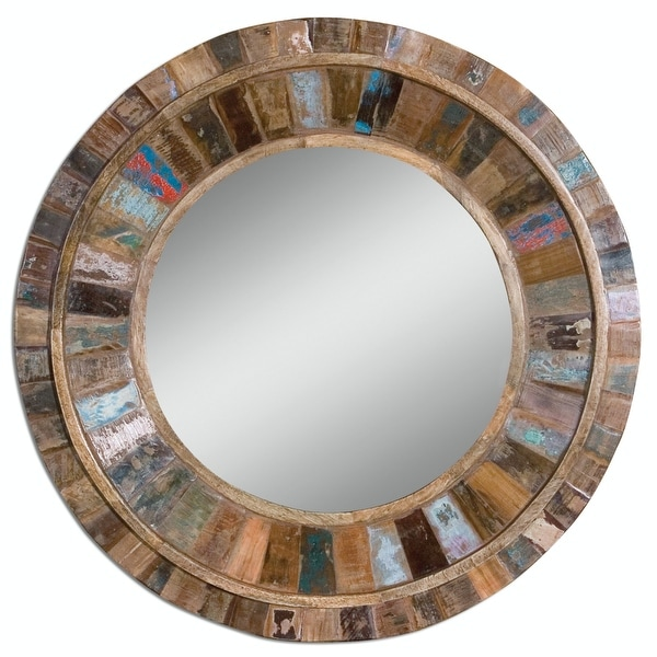 32 Bohemian Multi Colored Reclaimed Mango Wood Round Wall Mirror Brown N A
