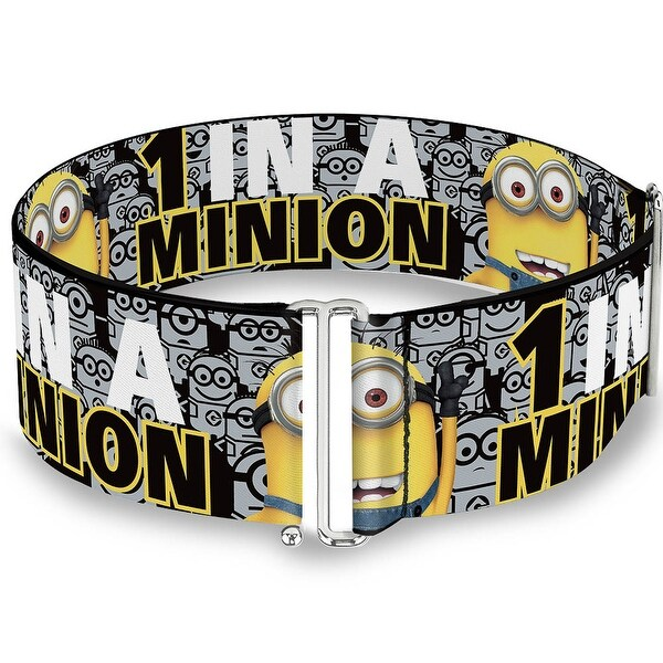 1 In A Minion Tom Pose3 Stacked Minions Black Gray Yellow White Cinch Waist Sinch Waist Belt ONE SIZE