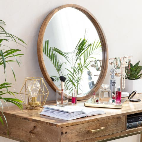 Stewart Modern Bevelled Wall Mirror - Natural Wood