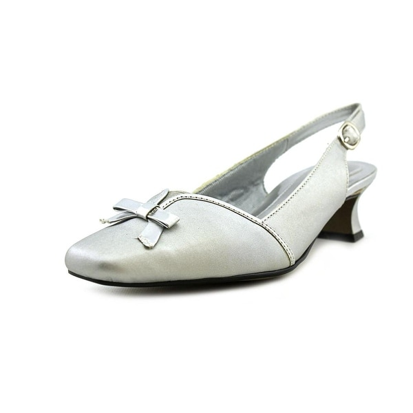 Easy Street Incredible Women N/S Square Toe Synthetic Silver Slingback Heel