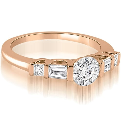 1.00 cttw. 14K Rose Gold Round and Baguette Cut U-Bar Diamond Engagement Ring