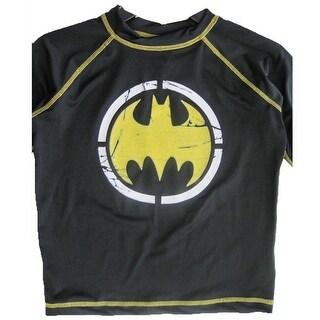 Batman Boys Black Stretchy Printed Swim Wear T-Shirt 8-10