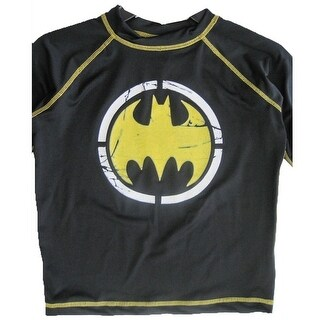 Batman Little Boys Black Stretchy Printed Swim Wear T-Shirt 6-7