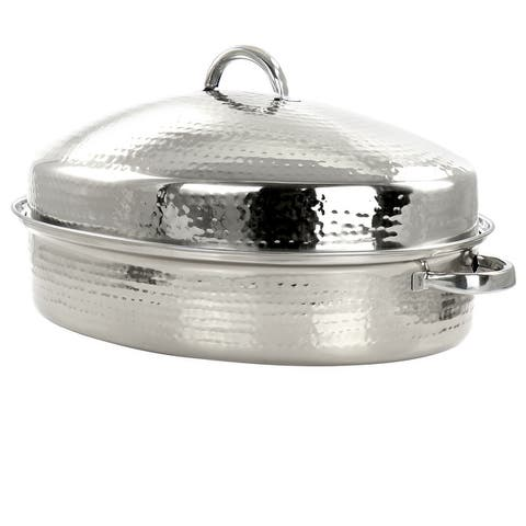 Gibson Home Radiance 15.5In Stainless Steel Oval Roaster wLid and Rack