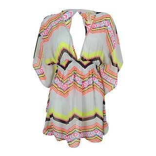 Link to Miken Women's Mix-Print Keyhole Chiffon Coverup - Multi Neon Similar Items in Swimwear