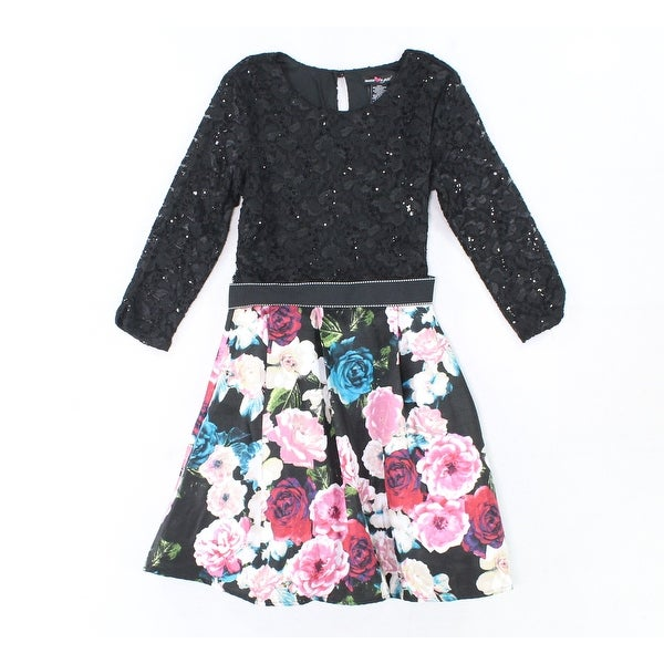 Shop Teeze Me NEW Black Pink Girls Size 16 Sequin Floral Print Lace Dress - Free  Shipping On Orders Over  45 - Overstock - 20562441 9213e95dea0f