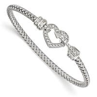 Italian Sterling Silver CZ Heart Rhodium Plated Bangle