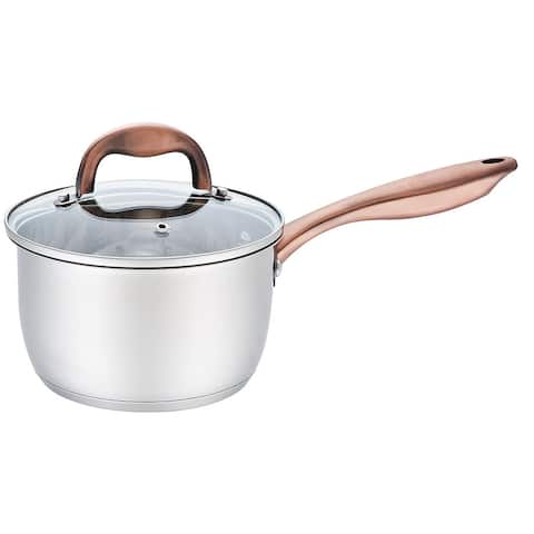 Premius Stainless Steel Sauce Pan with Glass Lid and Copper Handle, 2.5 Quart