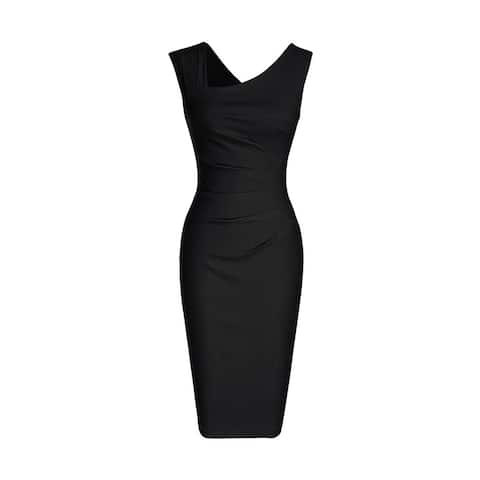 Haute Edition Women's Retro Ruched Sleeveless Bodycon Pencil Dress