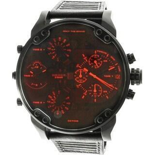 Diesel Men's Mr. Daddy DZ7402 Black Leather Japanese Quartz Fashion Watch