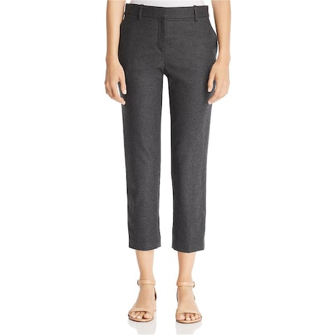 Theory Womens Cropped Flannel Dress Pants, grey, 4