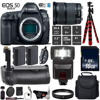 Canon EOS 5D Mark IV DSLR Camera with 24-105mm is STM Lens + Tripod + Extra Battery + Wrist Strap + Card Reader - Intl Model