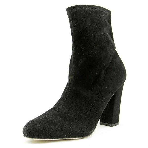 Madden Girl Fantaysa Women Round Toe Canvas Black Ankle Boot
