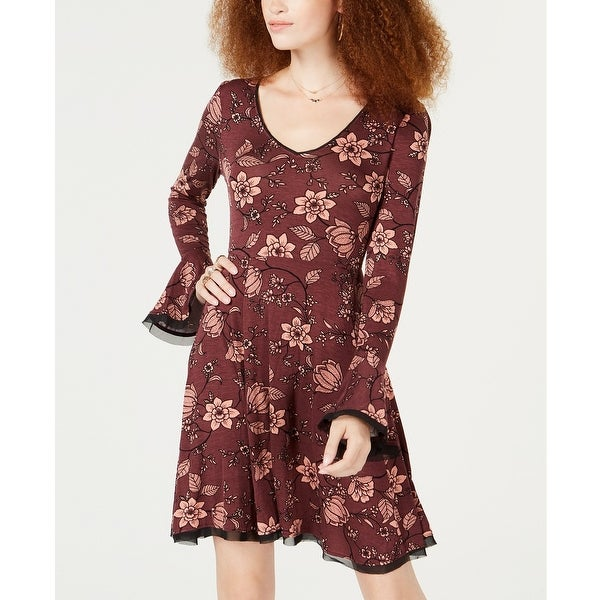 3ba62c45da American Rag Juniors Floral Print Fit and Flare Wine Tasting Size Extra  Small - Red - X-Small