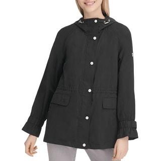 Calvin Klein Womens Raincoat Black Large L Hooded Full Zip Snap Button