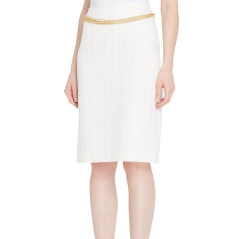 TAHARI BY ASL White Ivory Women 16P Petite Straight Pencil Skirt