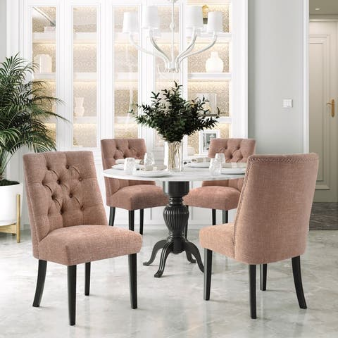 AOOLIVE 4PCS Solid Wood Upholstered Armless Dining Chairs Set, Ginger