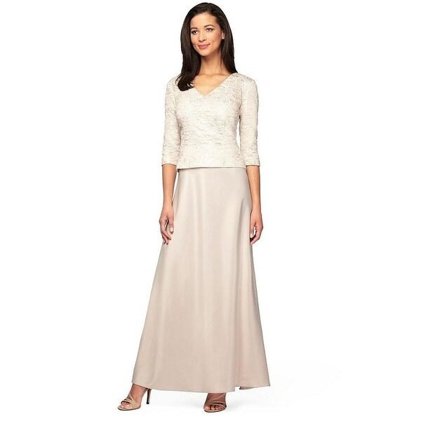 Alex Evenings Petite Jacquard V-Neck Three Quarter Sleeve Evening Gown Dress - 14P