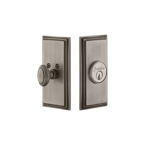 Grandeur CARCAR_SGLCYL_234 Carre Solid Brass Rose Passage Door Knob Set with Cir - N/A