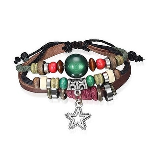 Bling Jewelry Leather Wrap Bracelet Imitation Cats Eye Silver Plated Star