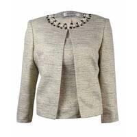 Tahari Women's 'Charles' Jewel-Trim 2PC Blazer Set - champagne/black/gold - 4